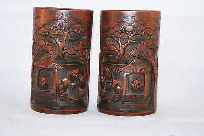 Pair of Antique 19th Century Carved Bamboo Chinese Brush Pots