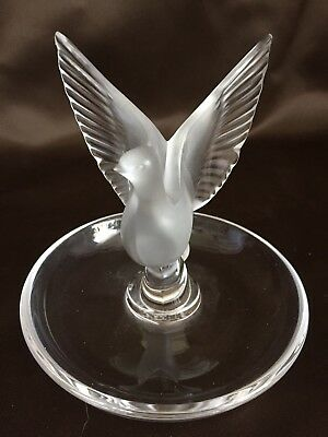 Vintage Lalique Ring/Change Spread Wing Bird Signed Mint