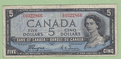 1954 Bank of Canada 5 Dollar Note Devil's Face - Coyne/Towers - C/C0322866 - VG