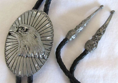 S.S.I. Handcrafted USA Silver Tone EAGLE Head BOLO Tie Leather