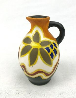Gouda Pottery Vase / Jug Art Deco 1925 / Dutch / Orange / Blue / Brown