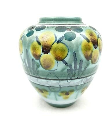 Gouda Pottery Vase / Jug / Art Deco Design / Flora / Blue / Yellow / Vintage