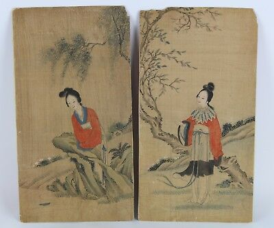 Lot Of Two Old Chinese Water Color Paintings Of Two Beauties