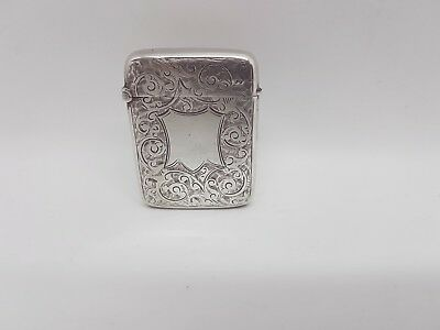 Antique Victorian Sterling Silver Vesta Case Foliate Ornament Birmingham 1892