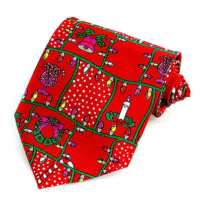 Christmas Tree Lights Mens Necktie Holiday Red Neck Tie Novelty Xmas Gift New
