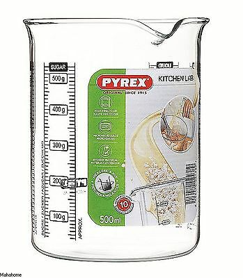 Pyrex Clear Measuring Glass Beaker 500ml With Black Marking Kitchen Lab New