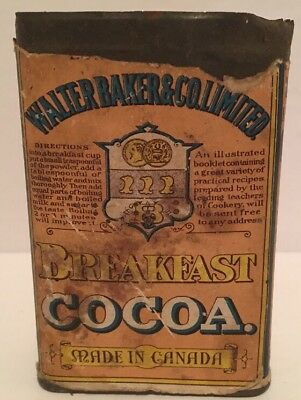 Antique 1920's Walter Baker & Co. Breakfast Cocoa Tin Made In Canada RARE