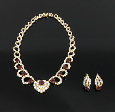 Fine 23.0ct Diamond 13.0ct Ruby 18K Gold Necklace & Earrings Set GIA Certified
