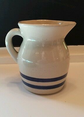 "Vtg 4.5"" Pitcher Dbl Blue Stripe Robinson Ransbottom Pottery RRP Roseville Ohio"