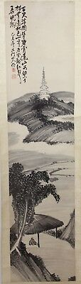 Old Chinese Scroll Ink On Paper Painting Of A Man Sitting Near A Cliff