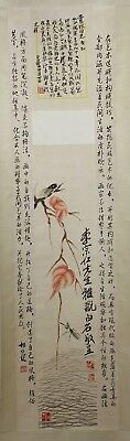 Old Chinese Scroll  Watercolor On Paper Painting Of Insects And Flowers