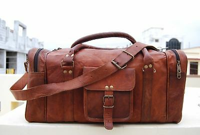 """Men/'s Brown Genuine Goat Leather 25/"""" Travel Luggage Duffle Gym Overnight Bag New"""