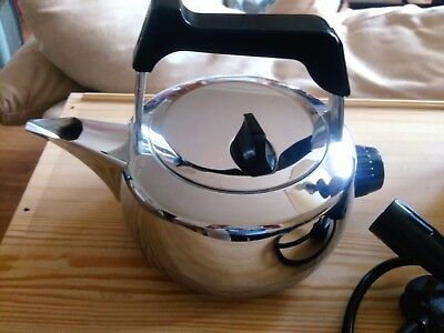 Unused Vintage Retro Swan President Chrome Plated Solid Copper Electric Kettle