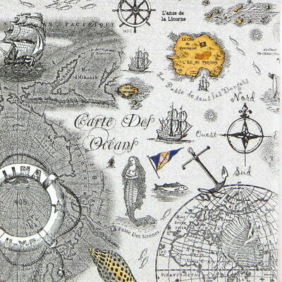 6 Cocktail 25x25cm Paper Napkins for Decoupage Party Craft Map Ocean Sea