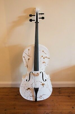 Wedding Decoration Gold and White 4/4 Cello and Bow Custom Painted Music Wedding