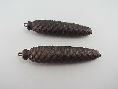 "Vintage Set Of 2 Cast Iron 7 1/2"" Pine Cone Cuckoo Clock Weights"