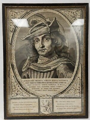 Antique 16th or 17th Century Copperplate Engraving Johannes Primvs Virilis Sexvs