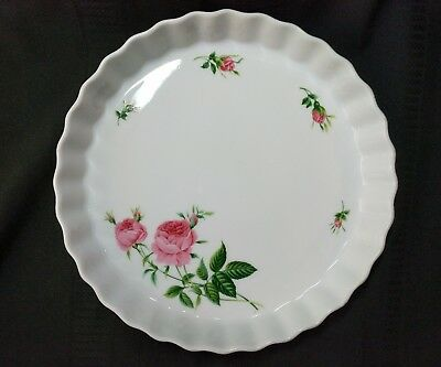 Christineholm White with Pink Roses Flan Tart Quiche Pan Fluted Edges