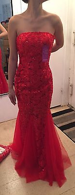 Traditional Chinese Qipao Cheong-sam Red Flower Wedding Dress - Size 2/XS Petite