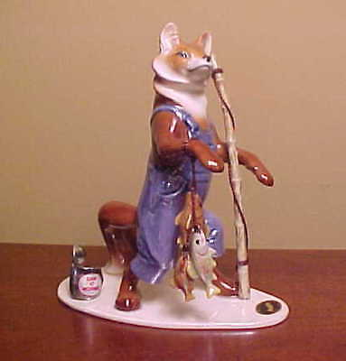 RETIRED #3307 Hagen-Renaker Specialty PAPA FISHING FOX - Ceramic Figurine