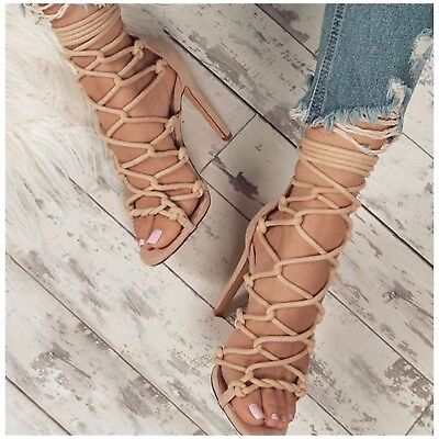 Liliana NIKIA-98 Nude Faux Suede and Rope Super Strappy Tie Up Stiletto Heel