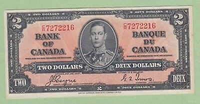 1937 Bank of Canada 2 Dollar Note - Coyne/Towers - C/R7272216 - VF/EF