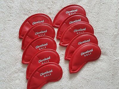 NEW 10 x RED CLEVELAND PU LEATHER GOLF CLUB IRON HEAD COVERS MAGNETIC FASTENING