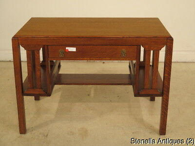 F40155: Antique Mission Oak 1 Drawer Writing Desk