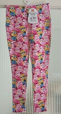 Despicable me minion pink girls kids trousers leggings 7-8 years BNWT FREE POST