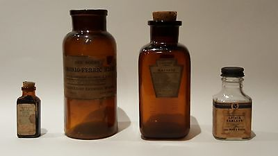 Medical/Apothecary Bottles (circa 1910): Group of 4 Antacid/ Antiseptic