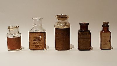 Medical/Pharmaceutical Bottles: Set of 5 Quinine for Malaria