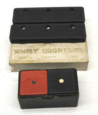 Rare 19th Century Antique 1890s Oversize Dice+Whist Counters Trump Card Game Die