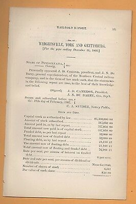 1866 Pennsylvania RR paper WRIGHTSVILLE YORK & GETTYSBURG RAILROAD train report