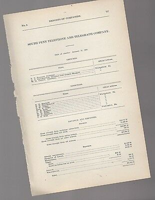 1906 annual report SOUTH PENN TELEPHONE & TELEGRAPH CO. Waynesburg PA