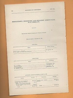 1906 trolley report MIDDLETOWN HIGHSPIRE & STEELTON RAILWAY  harrisburg PA train