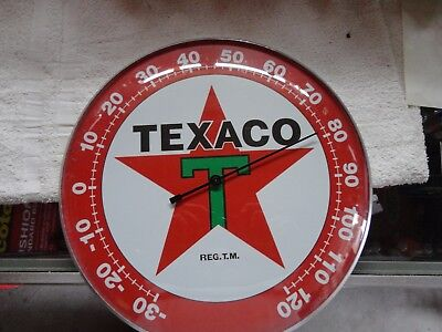 "Texaco Oil Co Star Thermometer 12"" Round Licensed Glass Lens Aluminum Body"