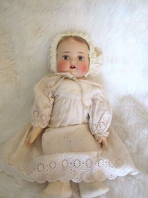 Bisque Head Girl  Baby Doll In Original Box , Fully Clothed , N/r