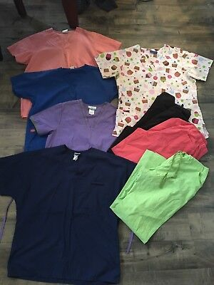 LOT OF SCRUB 5 TOPS, 3 PANTS Good CONDITION  SIZE Large