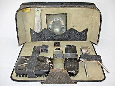 Vintage Shaving Razor Kit Brushes Razor In Leather Case & Accessories