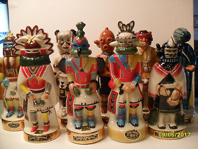 Ezra Brooks Complete 9 Decanter Kachina Set