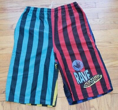 Vintage Body Glove Rave Culture Striped Shorts Men Large Multi Color 90s Hip Hop