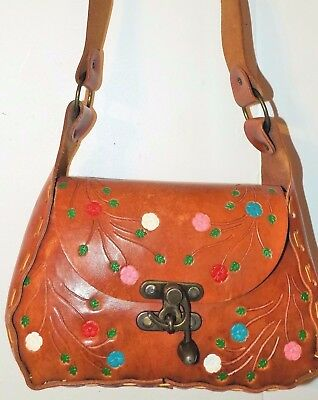 "1543  Hippie BoHo Leather Tooled Purse 1970  Brown w/flowers  30"" strap NICE!"