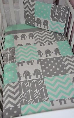 Brand New Mint and Grey Patchwork Elephant design Cot quilt + pillow cover set