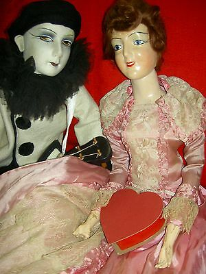 TURNING head, super RARE antique compo. smiling BOUDOIR bed doll, great costume