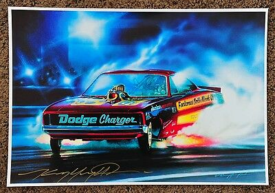 New Kenny Youngblood Signed Chi Town Hustler Pat Minick Charger Funny Car Print