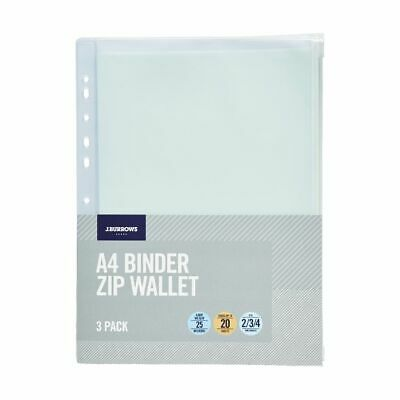 J.Burrows A4 PVC Binder Pouch Clear 3 Pack