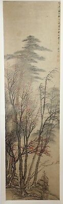 Old Chinese Watercolor On Paper Scroll Painting Of Flowering Trees