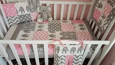 New Baby girl's Pink & Grey Elephant Patchwork bedding set + Nappy stacker