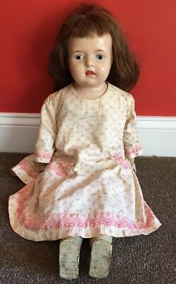 """Rare """"Babs"""" 28"""" Walking Doll Antique Harry Coleman US Wood Mesh, Comp (12)"""