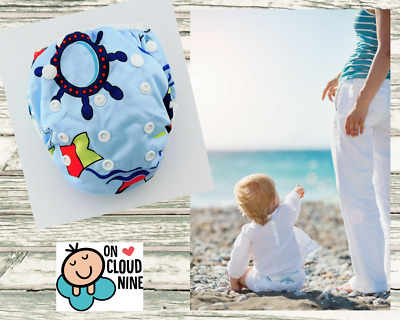 Reusable SWIM NAPPY -BOATS-  OSFM Baby Diaper Pants Swimmer Newborn to Toddler